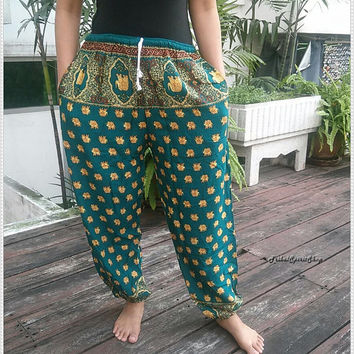 Green Printed Exotic Elephant Pants Baggy Boho Comfy Style Rope Waist Hippie Gypsy Plus Size Rayon Aladdin Clothing Beach Clothing Hipster