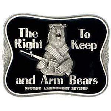 Sports Accessories - The Right To Keep and Arm Bears Enameled Belt Buckle