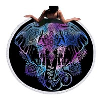 BeddingOutlet Bohemian Elephant Round Beach Towel Indian Tassel Tapestry Floral Yoga Mat Lotus Flower Toalla Blanket