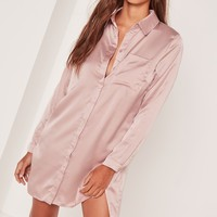 Missguided - Satin Front Split Shirt Dress Nude