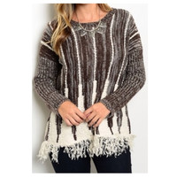 CLOSEOUT~Brown/Ivory Knit Blend Fringe Accent Sweater