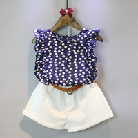 Hot selling New Fashion children's clothing the little girl's clothes floral sleeveless T-shirt + shorts suits