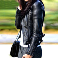 Faux Soft Leather Black Blazer