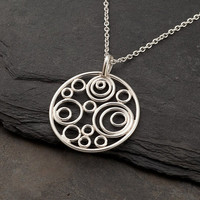 """Silver Circle Necklace- Silver Circle Pendant- Handmade Sterling Silver Necklace- Modern Artisan Pendant  """"Circle Cluster Necklace"""""""