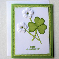 St. Patrick's Day Card Shamrock and Flower Design Handmade St. Patty's Day Greeting, Happy St. Patrick's Day