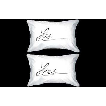 His and Hers Pillowcase - Simple Elegant His and Hers Couple Pillow Covers