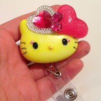 Neon Yellow Hello Casting Kitty Id Badge Holder with Retractable Reel