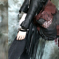 Fringe leather hobo motorbike with studded gypsy artistic african morroccan bohemian style unique gothic bag sweetsmokebags festival boho