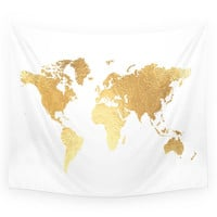 Society6 Textured Gold Map Wall Tapestry