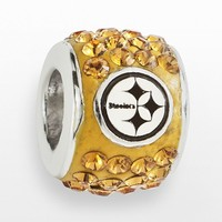 LogoArt Pittsburgh Steelers Sterling Silver Crystal Logo Bead - Made with Swarovski Elements