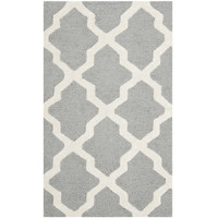 4' x 6' Handmade Wool Area Rug in Silver Grey Ivory Lattice Pattern