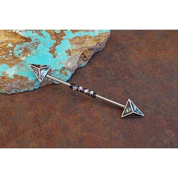 Arrow Industrial Barbell with Abalone Shell Inlay