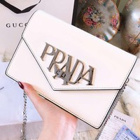 Prada 2018 counter limited edition leather diagonal shoulder bag F-BCZ(CJZX) white