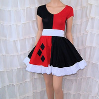 Harley Quinn Black Red Diamonds Summer Dress Cosplay Costume Adult Medium / Large MTCoffinz- Ready to Ship