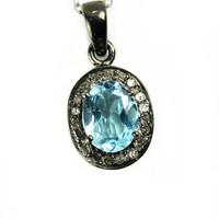 Sterling Silver Blue Topaz Necklace - Natural Champagne Diamonds - Oxidized Sterling Silver - Gift for Graduates