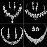 U119 Free Shipping Fashion Prom Wedding Bridal Jewelry Crystal Rhinestone Necklace Earring Sets