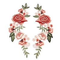 LCMFON Red Rose Flower Patch Applique Badge Sewing Craft Embroidered Patches for Clothing Party Dress Cheongsam Jeans Decor 29x12cm