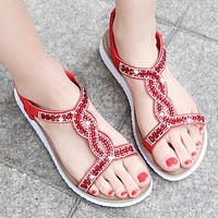 Fashion Selling Glass Water Diamond Focusing on Large Size Women's Shoes Red