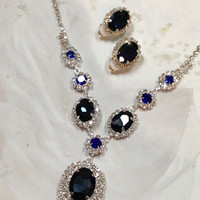 Wedding jewelry, bridesmaid necklace earrings, vintage inspired rhinestone bridal statement, Navy blue Monarch jewelry set
