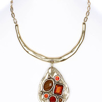 NECKLACE / LINK / HAMMERED BRASS / CRYSTAL STONE / FACETED GLASS BEAD / PREMIUM COLLECTION / 3 1/6 INCH DROP / 14 INCH LONG / NICKEL AND LEAD COMPLIANT