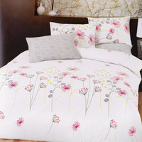 Custom Queen or Full Size Pink, Yellow, Green, Grey Floral Printed on White Backround Duvet cover Set, 3pcs
