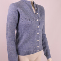 Vintage 70s - Blue Hand Knit Handmade - Open Knit Button Up Wool Cardigan Sweater - Womens Ladies