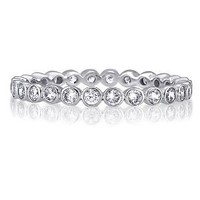 BERRICLE Sterling Silver Cubic Zirconia CZ Womens Wedding Bridal Anniversary Eternity Band Ring