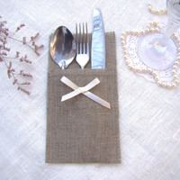 Wedding burlap linen silverware holders with bow. Set of 25. Rustic table decor. Cutlery Holder.