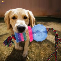 Dog Toy Cotton Dental Teaser Rope and ball Chew Teeth Cleanning Blue Puppy safe