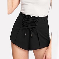 BLACK FRONT LACE-UP SHORTS