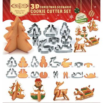 Christmas 3D Stainless Steel Cookie Cutter Xmas tree Metal Cookies Biscuit Mold Fondant Cake Decorating Tools baking tool C0105
