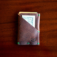 Weekend Wallet   Mens Greasy Leather Hand Stitched Minimal Slim