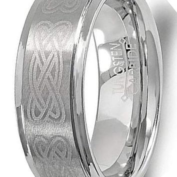 CERTIFIED 8MM Tungsten Carbide Unisex Wedding Band Celtic Ridged Edges Laser