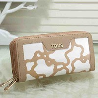 TOUS Women Fashion Leather Double Zipper Purse Wallet