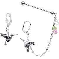 Hummingbird Industrial Chain Earrings Created with Swarovski Crystals | Body Candy Body Jewelry