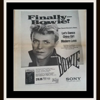 BOWIE 1984 Print David Bowie's Best Black & White Photo Picture Paper Ephemera 80s DB Let's Dance, China Girl, Modern Love, Bowie Lover Gift