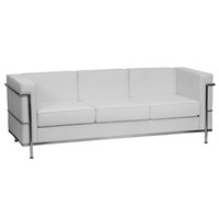 Flash Furniture HERCULES Regal Series Contemporary White Leather Sofa with Encasing Frame [ZB-REGAL-810-3-SOFA-WH-GG]