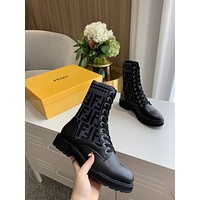 2022 Fendi FF Women's Leather Fashion Winter Knit Half Ankle Boots Shoes