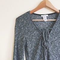 Niki Charcoal Speckled Knit Lace Up Top