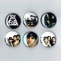 Fall Out Boy One Inch Pin Back Pinback Button Badge Set of 6 Six Patrick Stump Pete Wentz Andy Hurley Joe Trohman