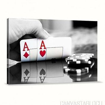 Poker and Casino Spades Ace Cup Flies Canvas Print Art Canvas Print Canvas Painting
