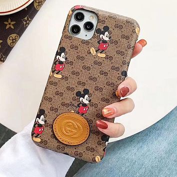 GUCCI x Disney Mickey Fashionable Men Women Print Phone Cover Case For iphone 6 6s 7 7plus iPhone X XR XS XS MAX IPhone 11 11pro 11 Pro Max