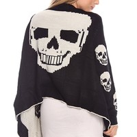 Featuring super soft lack color knit sweater fabrication with big cream skull pattern at back panel & medium size cream skull patter at both side of front panel, open front style, long sleeves with small cream skulls patter throughout, and finish with asym