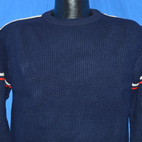70s Bulky Blue Striped Heavy Sweater Large