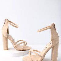 Laney Nude Suede Ankle Strap Heels