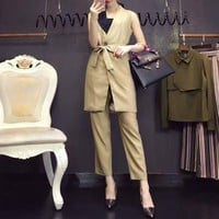 DCCK6HW Dior' Women Fashion Tailored Collar Bandage Cardigan Sleeveless Suits Vest Jacket Trousers Set Two-Piece