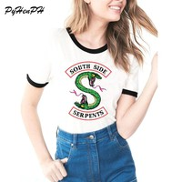 2018 Summer Riverdale Southside Serpents T shirt Women Harajuku Black S Printed Short Sleeve T-shirt Camisetas Mujer Laides Tops