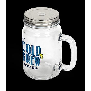 12oz Round Clear Glass Mason Jar With Handle, Lid And Straw