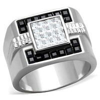 Mens Fashion Rings TK1809 Stainless Steel Ring with Top Grade Crystal