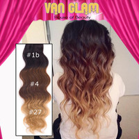 Ombre / Clip In Hair Extensions / Wavy / 22""